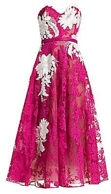 Marchesa Women's Corded Lace Strapless Cocktail Dress