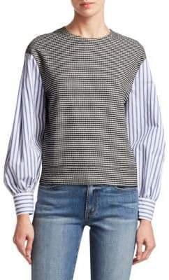 Derek Lam 10 Crosby Poplin Sleeve Sweatshirt
