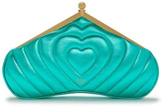 Mulberry Small Witney Clutch Minty Green Nappa Metallic Quilted Heart