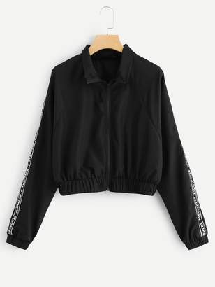 Shein Zip Front Letter Print Jacket