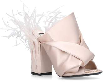 No.21 No. 21 Satin Feather Bow Mules 100