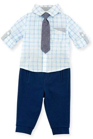Miniclasix Check Shirt w/ Pants & Tie, Size 3-24 Months
