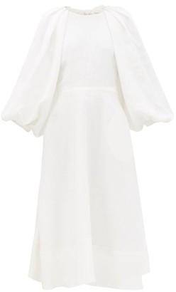 Ssōne Ssone - Cut Out Balloon Sleeve Hemp Midi Dress - Womens - Ivory