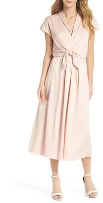 Gal Meets Glam Tie Waist Satin Midi Dress