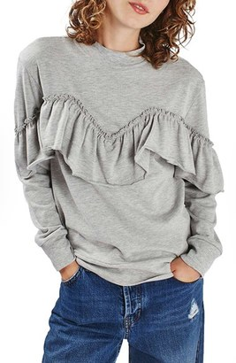 Women's Topshop Jersey Ruffle Sweatshirt $52 thestylecure.com