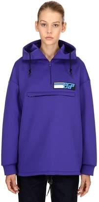 Prada Hooded Techno Jersey Half Zip Sweatshirt