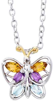 Sterling Silver and 14K Gold 0.45cttw Multi-Gemstone Pendant