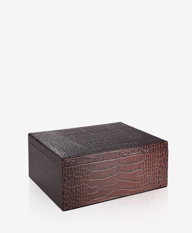 Large Box Brown Crocodile Embossed Leather