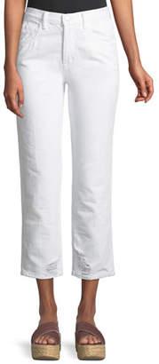J Brand Wynne High-Rise Crop Straight-Leg Jeans, White Destruct