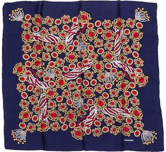 One Kings Lane Vintage Chanel Navy Jewel Silk Scarf