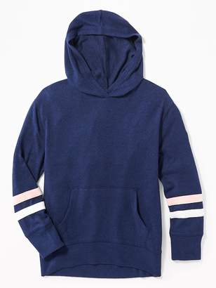 Old Navy Plush-Knit Sleeve-Stripe Pullover Hoodie for Girls