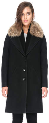 Soia & Kyo CHRISTELLE-R relaxed fit wool coat with removable fur trim