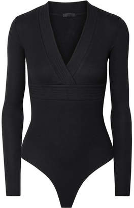 ATM Anthony Thomas Melillo Wrap-effect Ribbed Stretch-micro Modal Thong Bodysuit - Black