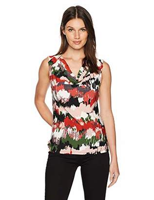 Nine West Women's Cap Sleeve Cowl Neck Printed Ity Top