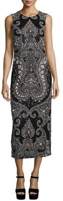 Michael Kors Sleeveless Embellished Column Gown, Black/Slate $13,995 thestylecure.com