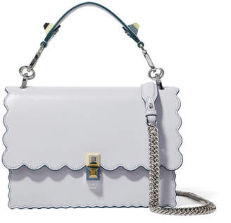Fendi Kan I Scalloped Leather Shoulder Bag - Sky blue