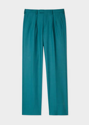 Paul Smith Men's Teal Houndstooth Double-Pleat Flared Pants