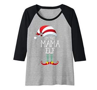 Womens I'm The Mama Elf Family Matching Christmas Gift Group Raglan Baseball Tee