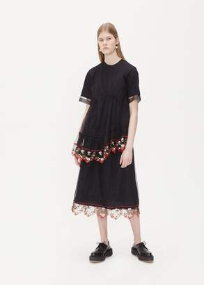 Simone Rocha T-Shirt With Tulle Layers and Lace Trim