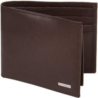 Calvin Klein Brown Saffiano RFID Passcase Wallet