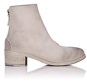 Marsèll Women's Back-Zip Suede Ankle Boots - White