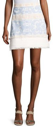 Alexis Anzel Embroidered Mini Skirt, Blue Pattern $374 thestylecure.com