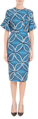 Roland Mouret Fluted Elbow-Sleeve Geometric Floral-Jacquard Midi Dress