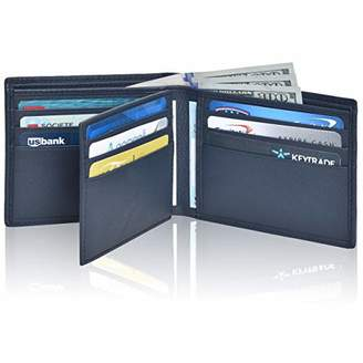 RFID Bifold Leather Wallets for Men - Handmade Blocking Genuine Leather Slim Front Pocket Men's Wallet with ID Window