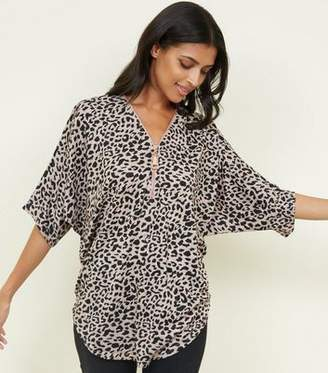 f06fccef3613c at New Look · Blue Vanilla Pink Leopard Print Half Zip Top