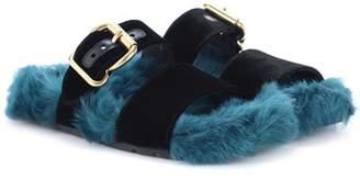 Prada Fur and velvet sandals