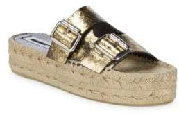 McQ Textured Leather Flatform Sandals