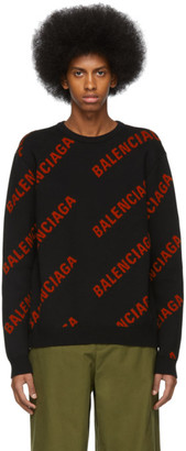 Balenciaga Black and Red Wool Allover Logo Sweater