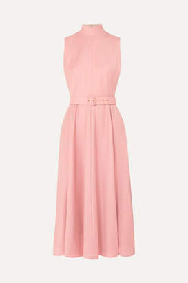 Emilia Wickstead The Woolmark Company Sheila Belted Merino Wool Midi Dress - Pink