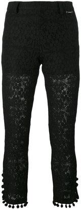 Twin-Set pom pom cropped trousers $159.18 thestylecure.com