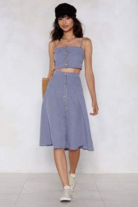 Nasty Gal Meet Me in the Midi Gingham Skirt