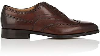 Barneys New York Men's Burnished Leather Wingtip Balmorals