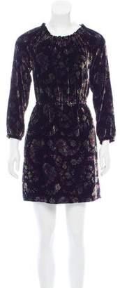 Rebecca Taylor Jewel Paisley Velvet Floral Print Mini Dress