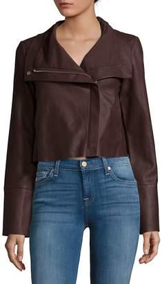 Veda Women's Cropped Flint Leather Jacket