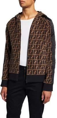 Fendi Men's Allover FF Fleece Zip-Front Hoodie