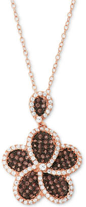 """Tiara Cubic Zirconia Flower 18"""" Pendant Necklace in 14k Rose Gold-Plated Sterling Silver"""