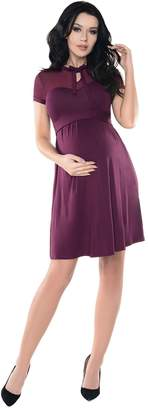 Purpless Maternity Short Sleeved Pregnancy Dress with Polka Dot Lace Panel D004
