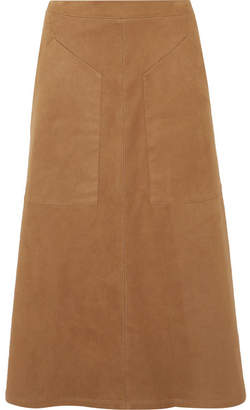 Vilshenko Carrie Faux Suede Midi Skirt - Brown