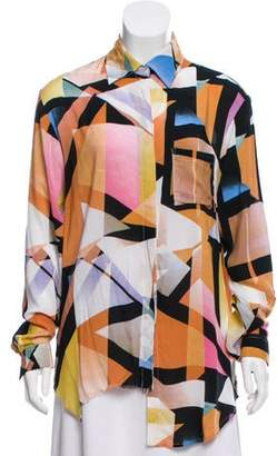 One Teaspoon Abstract Printed Button-Up Top