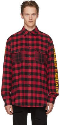 Marcelo Burlon County of Milan Red and Black Plaid Eagle Shirt