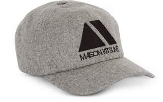 94c239456663e MAISON KITSUNÉ Light Grey Wool Blend 6P Triangle Baseball Cap