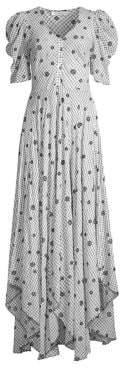 LoveShackFancy Women's Coralie Floral Button-Down Maxi Dress - Charcoal - Size 0