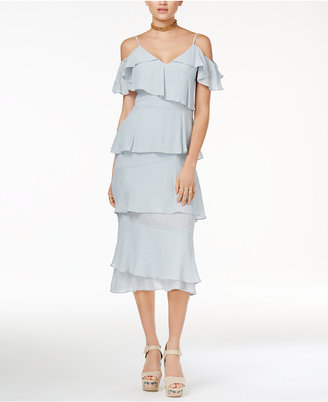 endless rose Tiered Off-The-Shoulder Midi Dress $140 thestylecure.com