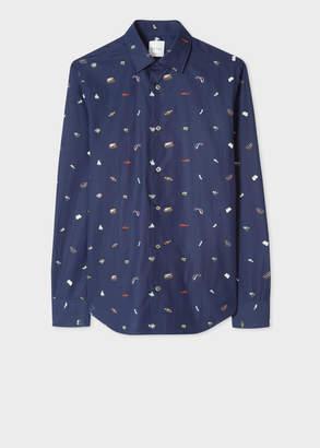 Paul Smith Men's Slim-Fit Navy 'Holiday' Print Cotton Shirt