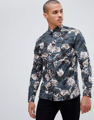 Ted Baker party shirt in dark blue floral