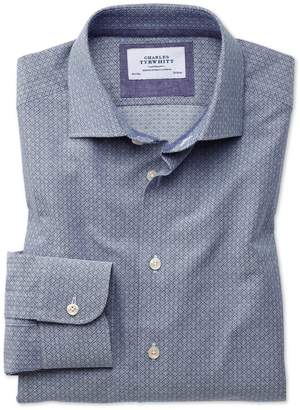 Charles Tyrwhitt Slim Fit Semi-Spread Collar Business Casual Diamond Texture Navy and Grey Cotton Dress Shirt Single Cuff Size 15.5/34